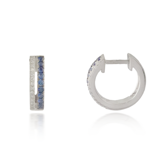 Round Sapphires White Gold Earring