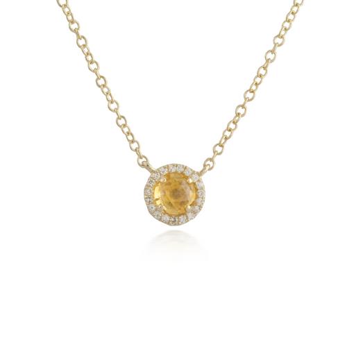 Citrine Yellow Gold Pendant
