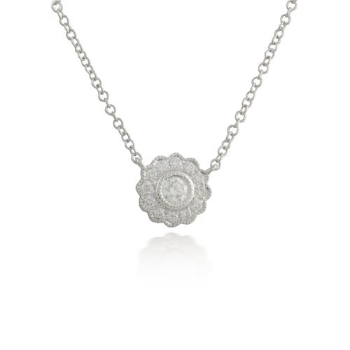 Flower White Gold Pendant