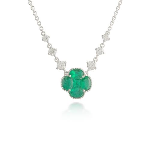 Flower Emerald White Gold Pendant