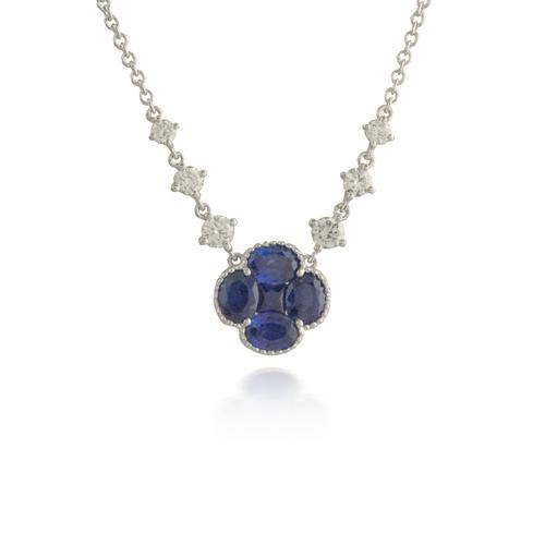 Flower Sapphire White Gold Pendant