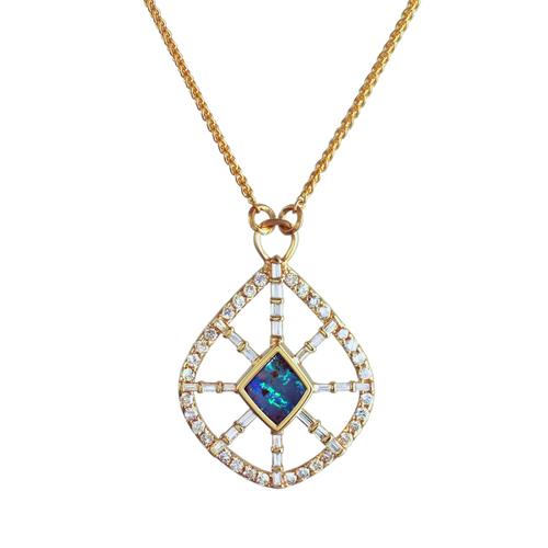 Opal Baguette Diamond Pendant