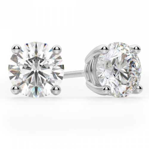 Create Your Own Round Brilliant Cut Diamond Stud Earrings