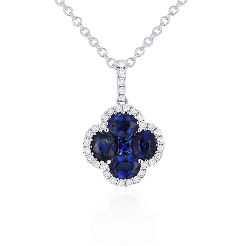 Madison L Sapphire and Diamond Clover in Color Pendant