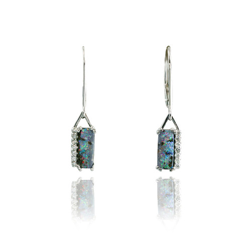 Rectangular Boulder Opal and Diamond Earings