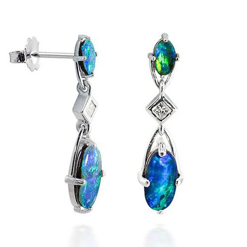 Dangling Boulder Opal and Diamond Earrings