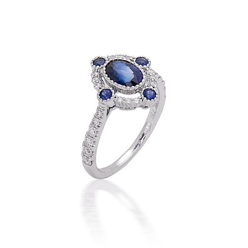Bassali Oval Diamond and Sapphire Ring