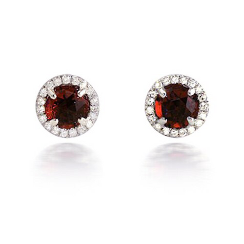 Bassali Garnet Diamond Earrings
