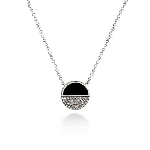 Bassali Modern Onyx and Diamond Yin-Yang Pendant