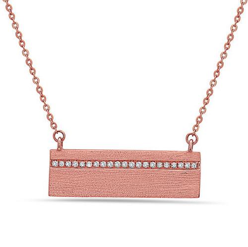Bassali Textured Rose Gold Bar Pendant