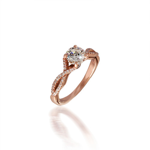 Diamond Engagement Ring with Twisted Shank
