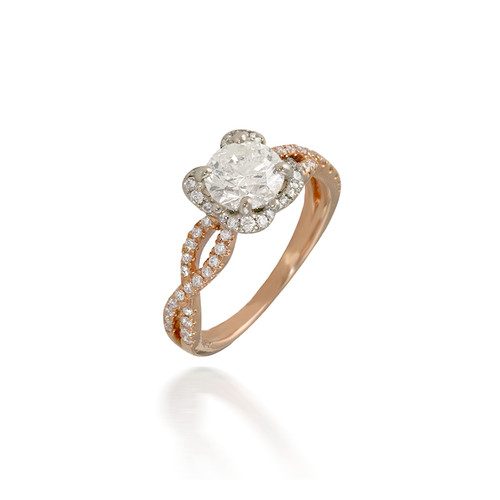 Two Tone Twisted band with Clover Halo Engagement Ring