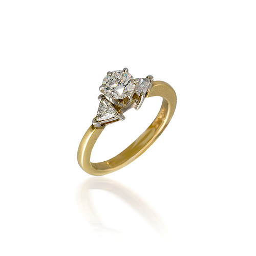 Three Stone Round and Trillion Diamond Engagement Ring