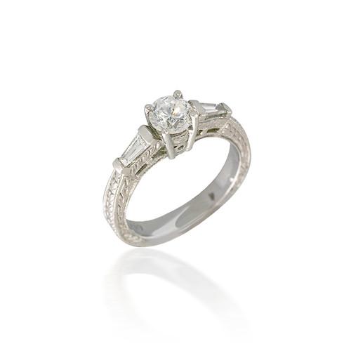 Vintage Style Three Stone Diamond Engagement Ring