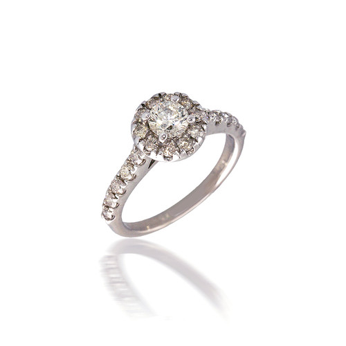 Bold Diamond Halo Engagement Ring with Peek-a-Boo Diamond