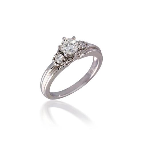 Diamond Three Stone with Heart Design Engagement Ring