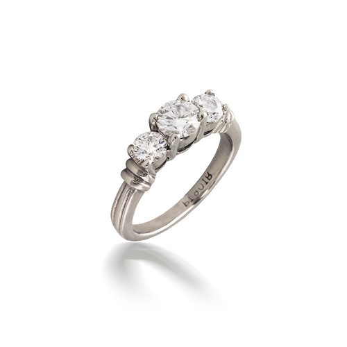Grooved Three Stone Diamond Engagement Ring