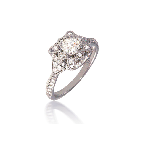 Floral Vintage-Style Engagement Ring