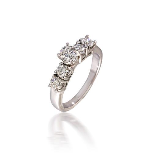 Five Stone Round Diamond Engagement Ring