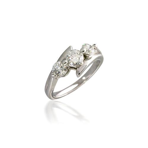 Three Stone Round Diamond Bypass Engagement Ring