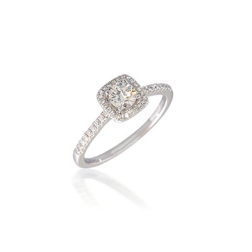 Round Diamond Engagement Ring with Cushion Halo