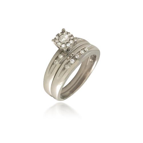 Cluster Bridal Set with Channel-Set Diamonds