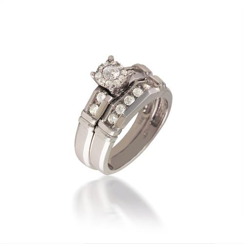 Faceted Diamond Cluster Bridal Set