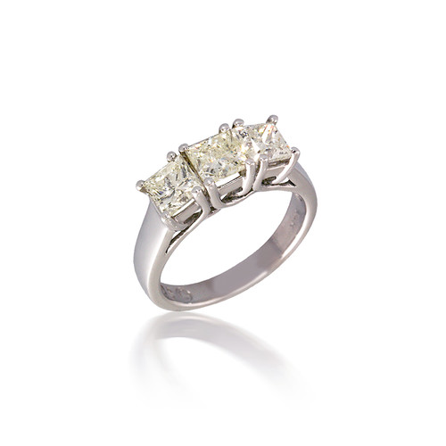 Lucida Three Stone Princess Diamond Engagement Ring in White Gold