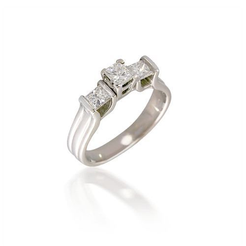 Three Stone Bar-set Princess Cut Diamond Engagement Ring