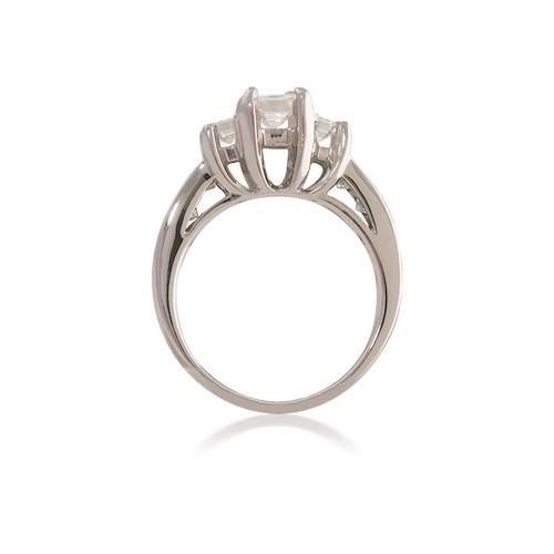 Lucida Three Stone Emerald and Princess Cut Engagement Ring