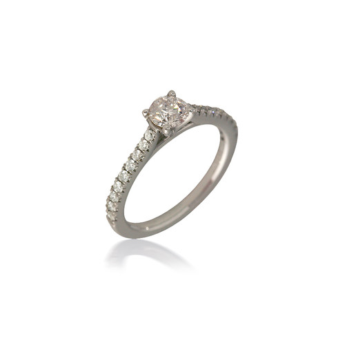 Classic Round Cathedral Engagement Ring
