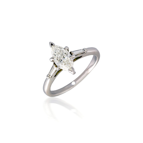 Three Stone Marquise and Baguette Diamond Engagement Ring