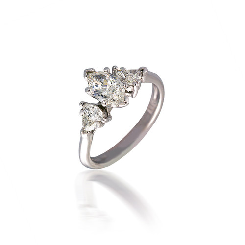 Five Stone Marquise and Trillion Diamond Engagement Ring