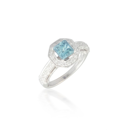 Hexagon Halo Engagement Ring with Blue Diamond