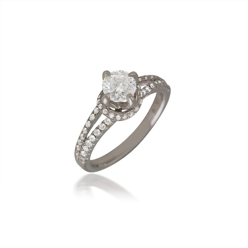 Banded Diamond Halo Engagement Ring with Split-Shank
