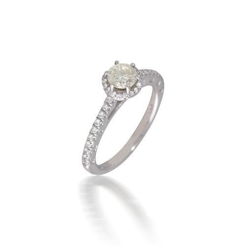 Rippling Diamond Halo Engagement Ring