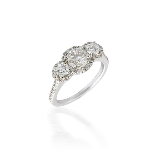 Three Stone Halo Engagement Ring