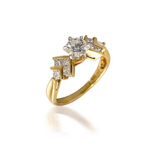 Geometric Arrow Diamond Engagement Ring
