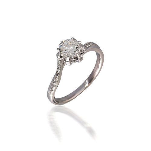Bright-cut Buttercup Engagement Ring with Bypass Band