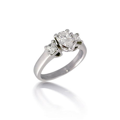Three Stone Princess and Pear Diamond Engagement Ring