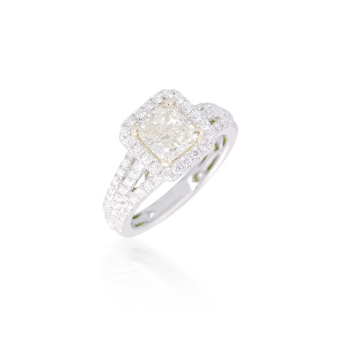 Yellow Cushion-Cut Diamond Engagement Ring with Halo