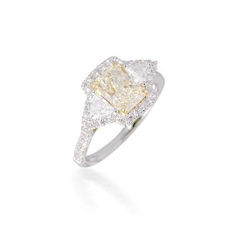 Yellow Diamond Three Stone Engagement Ring with Halo