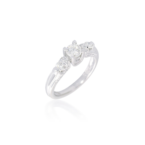 Three Stone Engagement Ring with Embellished Band