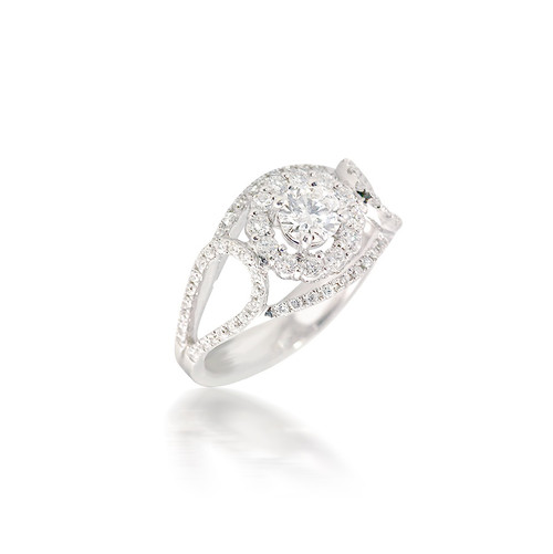 Diamond Halo Engagement Ring with Opened Looped Split Band