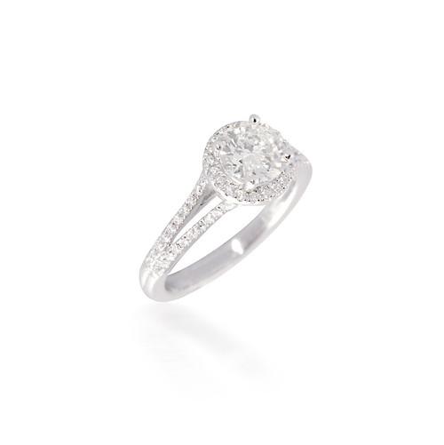 Diamond Halo Engagement Ring with Split-Shank