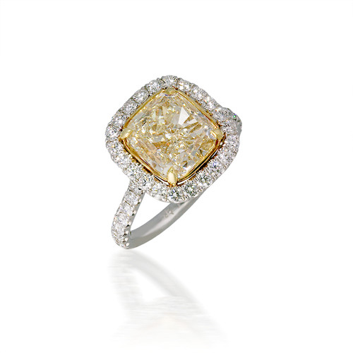 Stunning Yellow Cushion-Cut Diamond Engagement Ring with Halo