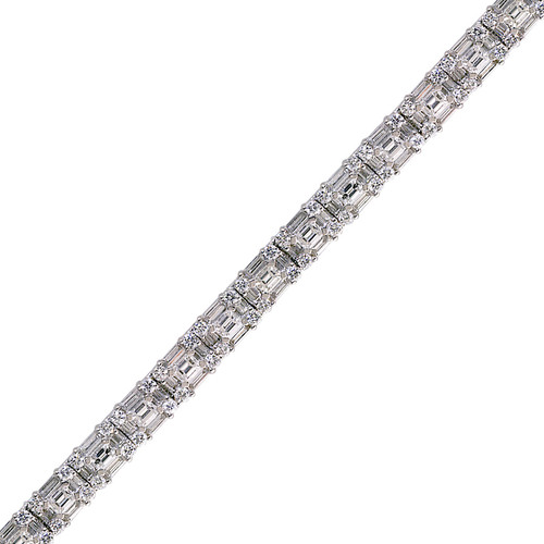 Dazzling 7.84ct Baguette and Round Diamond Cluster Bracelet