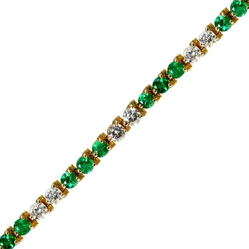 Classic Round Diamond and Emerald Tennis Bracelet