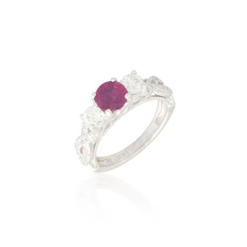 Three Stone Ruby and Diamond  Ring with Twisted Band