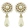 Ciner Crystal Flower Pearl Drop Earrings
